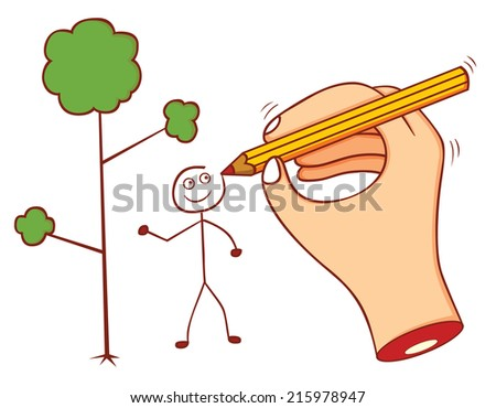 drawing hand - stock vector
