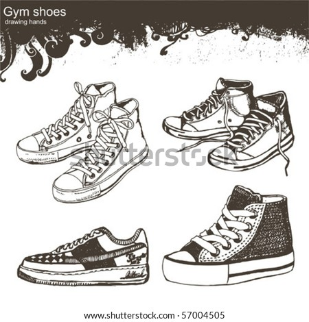 drawing hands - Sport shoes - stock vector