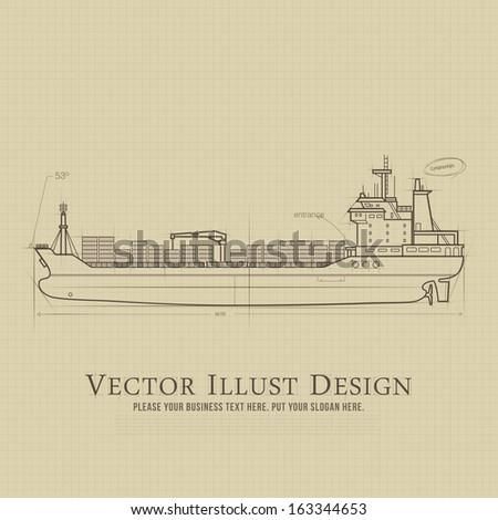 Drawing Illustration ship - stock vector