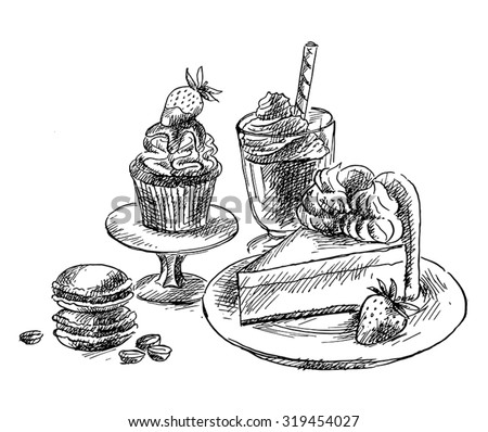Drawing Macron, strawberry muffin, chocolate mousse and ...