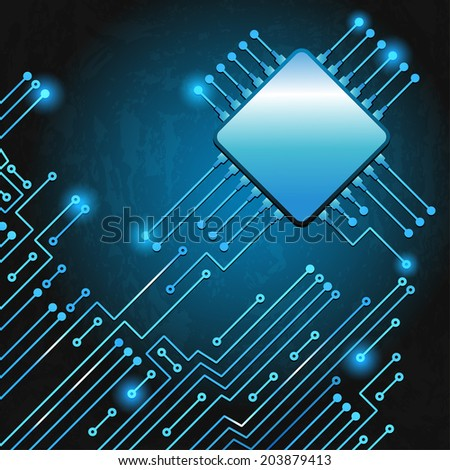 Drawing modern electronic circuit on blue grungy background - stock vector