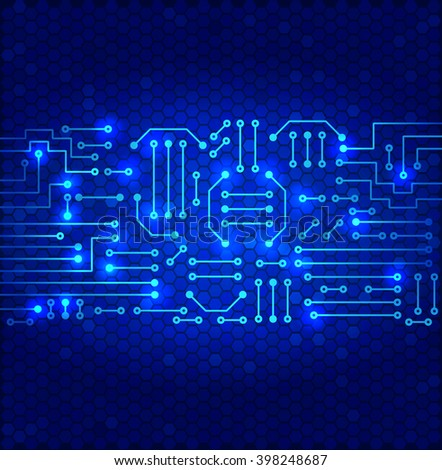 Drawing modern electronic circuit on cells pattern and blue glowing background - stock vector