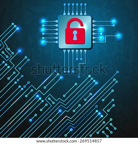 Drawing modern electronic circuit. Security concept of electronics system. - stock vector