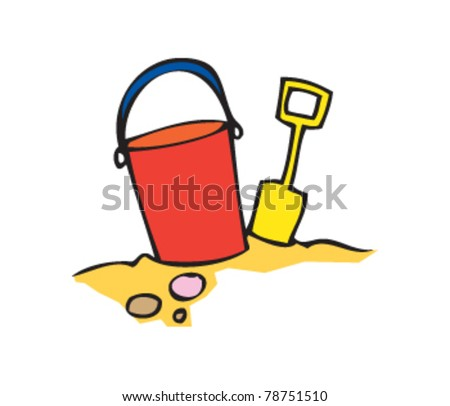 drawing of a bucket and spade - stock vector