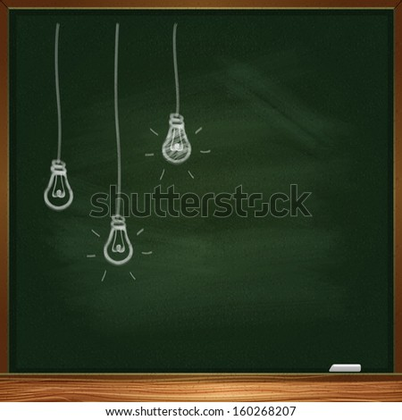 Drawing of a bulb idea on green board - stock vector
