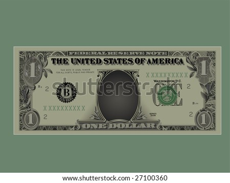 Drawing of a denomination of one dollar.Vector,Without mesh. - stock vector