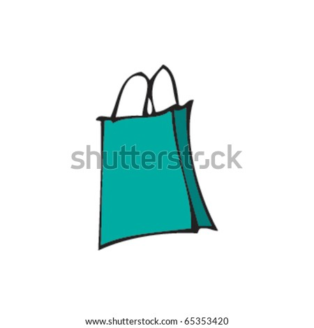 drawing of a gift bag - stock vector