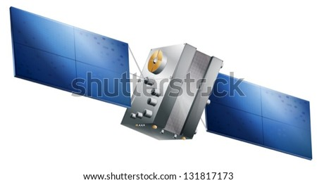 Drawing of a GPS satellite - stock vector