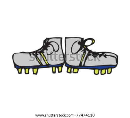 Drawing of a pair of rugby boots - stock vector