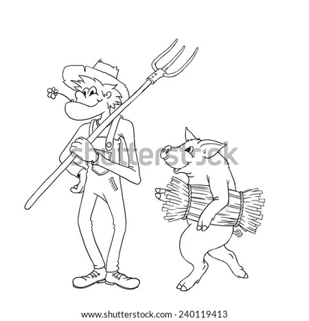 Drawing of a pig carrying hays and a happy peasant - stock vector