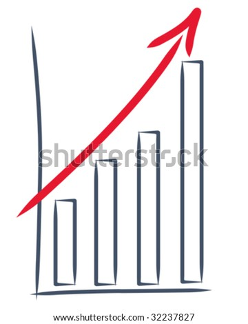 drawing of a sales increase - stock vector