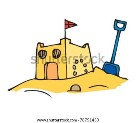 drawing of a sandcastle - stock vector