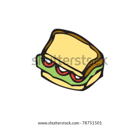 drawing of a sandwich - stock vector