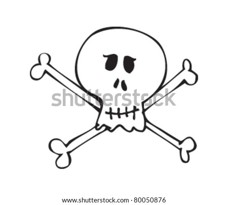 Drawing of a skull and crossbones - stock vector