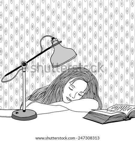 Drawing of a young woman asleep at her desk - stock vector