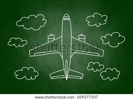 Drawing of aircraft on blackboard - stock vector