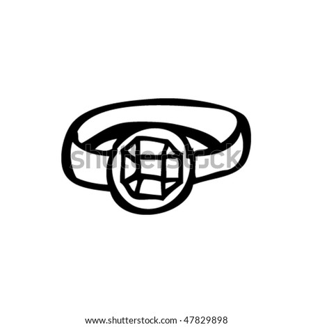 drawing of an engagement ring - stock vector