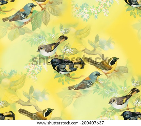 Drawing of beautiful bright birds and flowers seamless pattern vector - stock vector