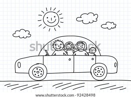 Drawing of car - stock vector