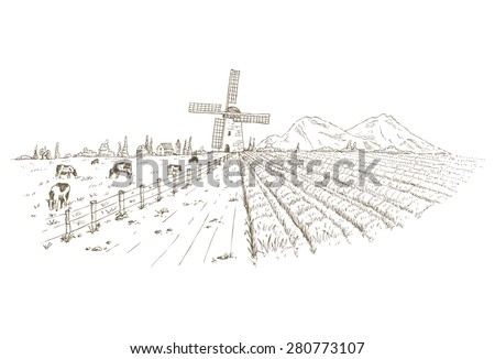Drawing of farm pasture and vegetables field - stock vector
