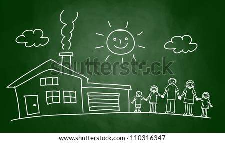 Drawing of house and family on blackboard - stock vector