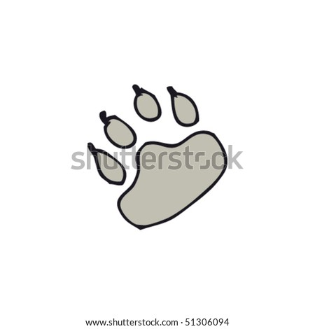 drawing of paw print - stock vector