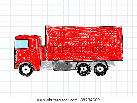 Drawing of red truck - stock vector