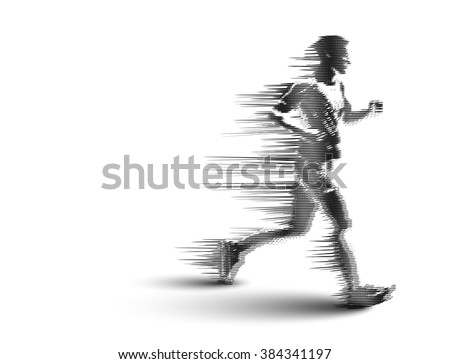 Drawing of Running man silhouettes. Vector illustration. - stock vector