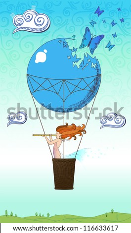 Drawing of the traveler by a balloon over the world - stock vector