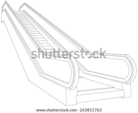 Drawing of wire-frame escalator. Perspective view. Vector illustration rendering of 3d - stock vector