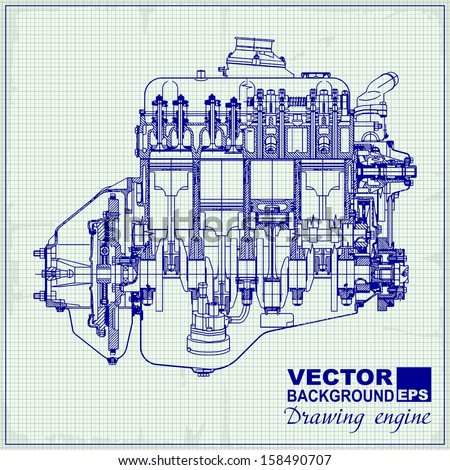 Drawing old engine on graph paper. Vector background. - stock vector