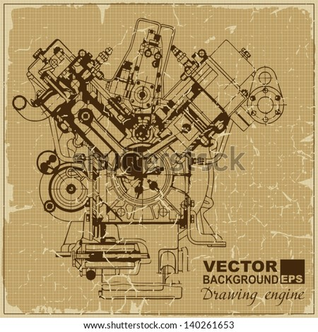 Drawing old engine on graph vintage old paper.Vector background. Plus two objects  cracked surface.Grunge effects can be removed.. - stock vector
