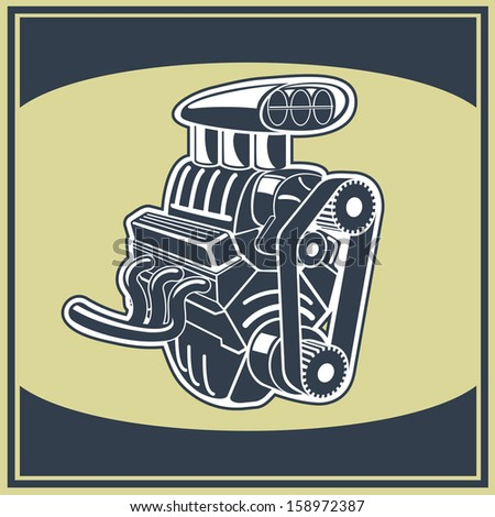 Drawing old engine on graph vintage .Vector background. - stock vector
