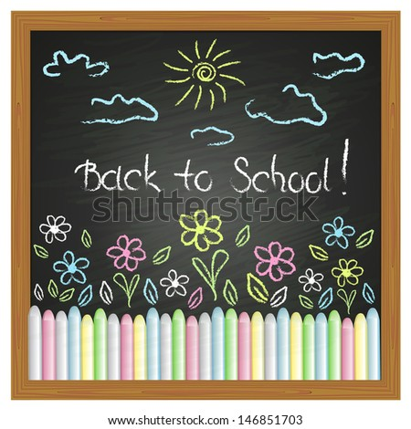 drawing on the blackboard and colored chalks - stock vector