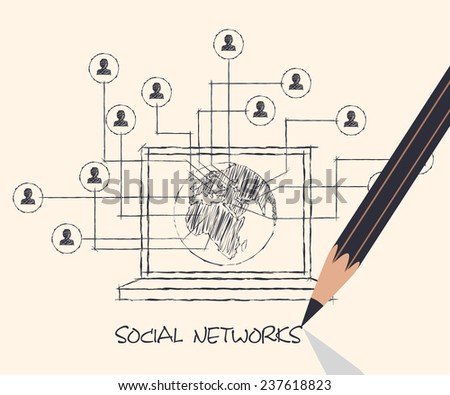 drawing pencil scheme of  social networks communication people Internet - stock vector