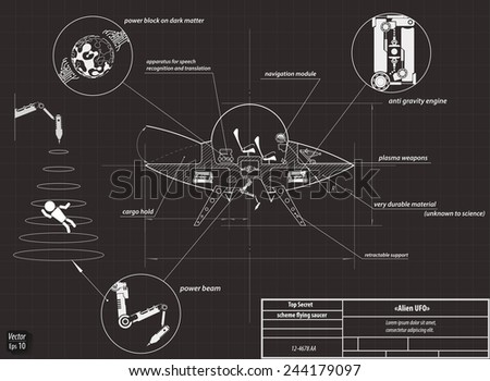 Drawing scheme flying saucer, space ship, UFO, vector illustration eps 10 - stock vector