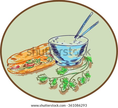 Drawing sketch style illustration of a Bahn mi Vietnamese sandwich with meat and bowl of rice and chopsticks and coriander herb set inside circle. - stock vector