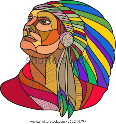 Drawing sketch style illustration of a native american indian chief warrior with headdress looking to the side set on isolated white background. - stock vector