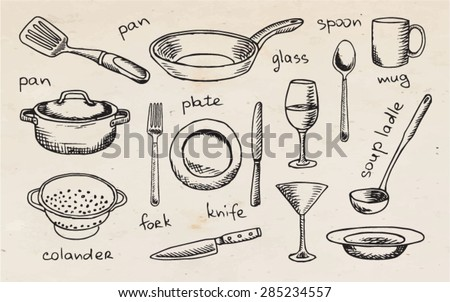 drawing tableware on the vintage background - stock vector