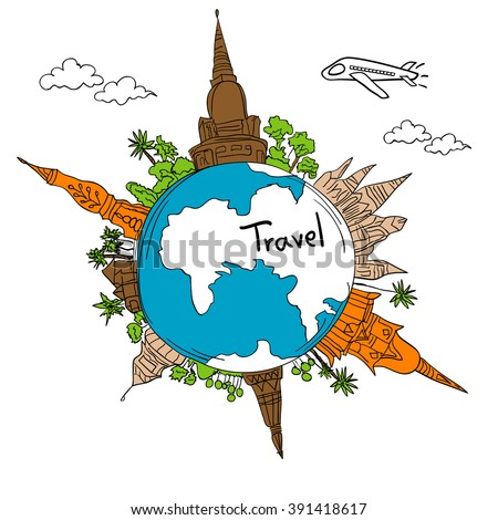 Drawing the dream travel around the world in a whiteboard - stock vector