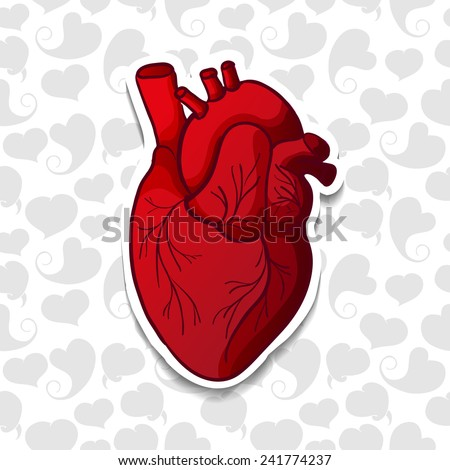 Drawing the human heart on background pattern of cartoon hearts. Vector - stock vector