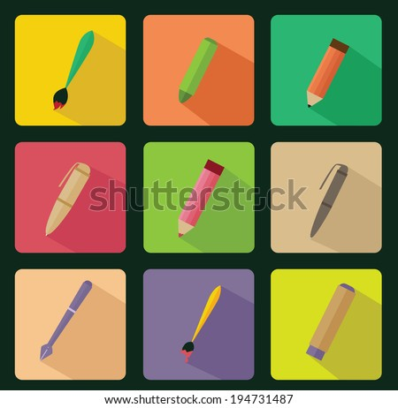 drawing tools flat icon - stock vector
