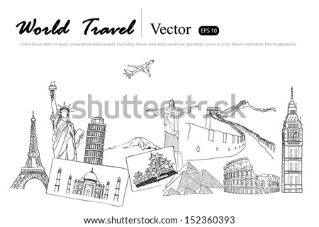 Drawing travel around the world (Japan,France,Italy ,New York,India,egypt) - stock vector