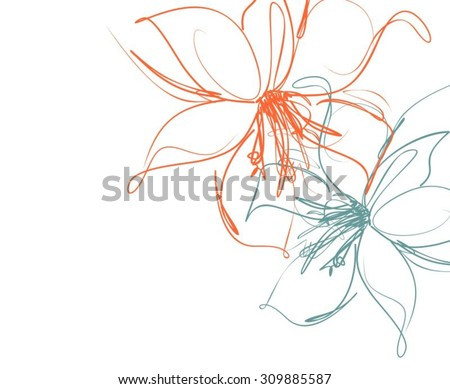 Drawing vector graphics with floral pattern for design. Floral flower natural design. Graphic, sketch drawing. lily, tulip.  - stock vector