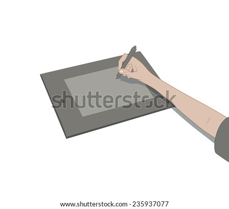 drawing with tablet - stock vector