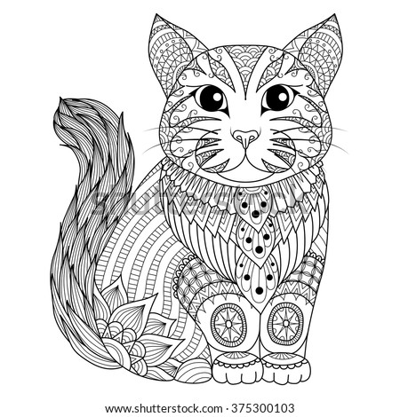 Drawing zentangle cat for coloring page, shirt design effect, logo, tattoo and decoration. - stock vector
