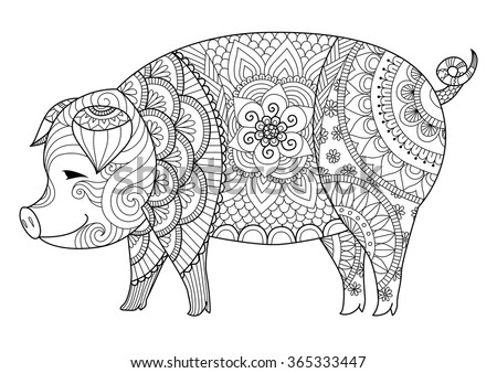 Drawing zentangle pig for coloring book for adult or other decorations - stock vector