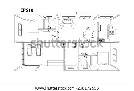 Drawings, design houses and furniture. - stock vector
