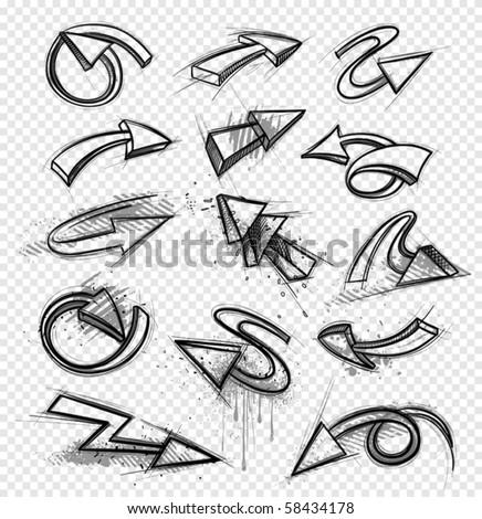 Drawings of arrows - stock vector