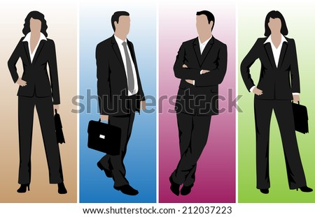 drawings of business people - stock vector